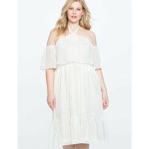 Eloquii Dress White Halter Off-the-Shoulder